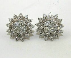 Natural Round Diamond Cluster Stud Ladyand039s Earrings 14k Rose Gold 3.60ct