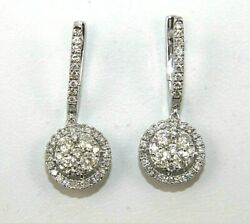 Natural Round Diamond Cluster Drop Snap Ladyand039s Earrings 14k White Gold 1.46ct