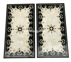 3and039x2and039 Pair Of Marble Top Dining Table Precious Inlay Stone Interior Decors B108
