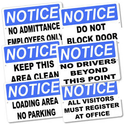 Notice Awareness Safety Sign Warehouses Parking Lots Offices 8x12 Metal Sign