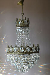 Antique Vintage Lighting, Crystal Chandelier, Shabby Chic French Lamp Pendant