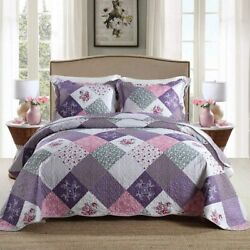 Homcosan Quilt Bedspreads Sets Queen/full Size 90x98 Inches, Reversible Purple
