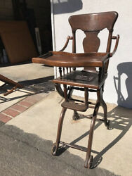 Antique Victorian Oak High Chair And Or Stroller -