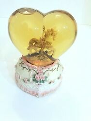 Carousel Horse In Amber Heart Shaped Snow Globe Plays I Love You Truly