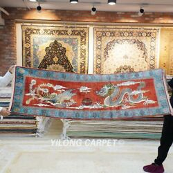 Yilong 2and039x6and039 Long Handknotted Silk Tapestry Dragon Phoenix Oriental Rug L023h