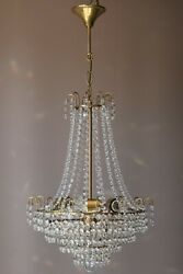 Antique French Empire Vintage Crystal Chandelier Christmas Lighting Ornate Lamp