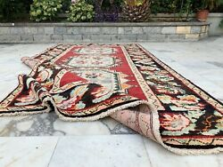 Antique Handmade Vintage Caucasian Tribal Carpet Area Rug 9and0393and039and039 X 4and03910and039and039