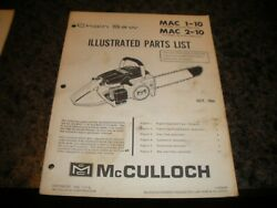 Mcculloch Mac 1-10 ,chainsaw Illustrated Parts List,vintage Chainsaw Y5