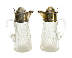 Pair French Gilt Silver And Acid Etched Cut Glass Floral Ewers 19th Century