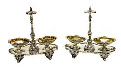 Pair Odiot Paris French Silver Gilt Footed Open Salt Cellars 19th Century