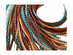 Feather Hair Extensions 100 Real Rooster Feathers Long Natural And Turquoi...