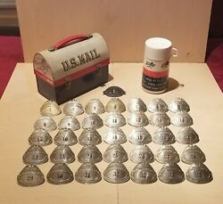 Vintage Usps Letter Carrier Badge1-1888 1940's Badge 1-35 Lunch Box And Thermos