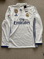 Real Madrid Long Sleeve Home Jersey Gareth Bale Size Small Cwc Bnwt 2016-17