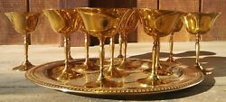 Maurice Duchin Inc. Vintage Set Of 12 Brass Goblets With Platter Made In India