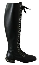 Dolce And Gabbana Shoes Boots Black Leather Knee Biker Studs Eu37/us6.5 Rrp 4000