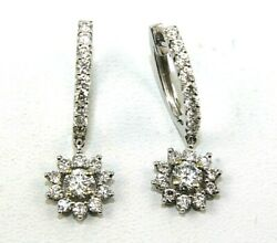 Natural Round Diamond Cluster Drop Snap Ladyand039s Earrings 18k White Gold 1.50ct