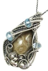 Petoskey Stone Wire-wrapped Necklace In Sterling Silver With Blue Topaz