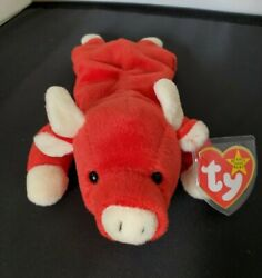 Rare Snort The Bull 1995 Ty Beanie Baby Pvc Tag Errors 4002 Mint Condition