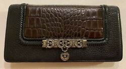 BRIGHTON Crossbody Organizer Wallet Clutch Black Leather Brown Croc NO STRAP EUC $7.00