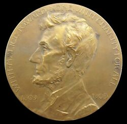 Usa America 1909 Abraham Lincoln Grand Army Of The Republic 76mm Medal