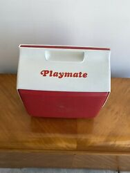 Vintage Playmate Igloo Cooler Red and White w Push Button 60's $22.00