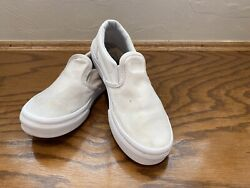 VANS Off the Wall Girl#x27;s Shoes Size 2.5 M White Slip On