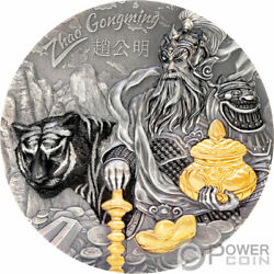 Zhao Gongming Gilded Asian Mythology 3 Oz Silver Coin 20 Cook Islands 2021