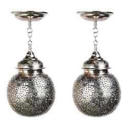 Silver Round Modern Moroccan Pendant Or Chandelier A Pair
