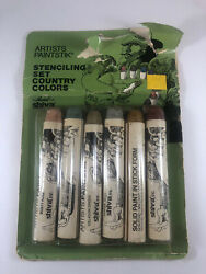 Vintage Artists Paintstik Stenciling Set Country Colors By Markal For Shiva NEW