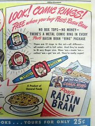 1948 Sunday Comic Section W Ad - Raisin Bran Cereal Metal Comic Character Ring