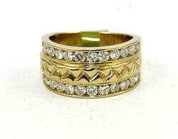 Natural Round Diamond 2 Row Cluster Ladyand039s Ring Band 14k Yellow Gold 1.32ct