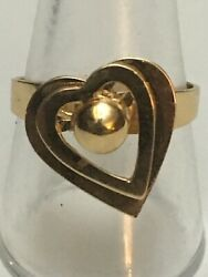 14ky Gold 2 Tier Heart Spinner Ring Size 9 1/4