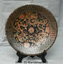 15.2 Marked Old China Dynasty Palace Red Lacquerware Painting Dragon Plate Tray
