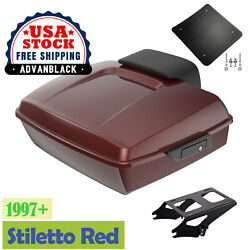 Stiletto Red Chopped Tour Pak Pack 2-up Mounting Bracket Rack For 1997+ Harley
