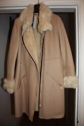 Brand New With Tags Escada Sport Leather Shearling Coat, Uk 14 De 42