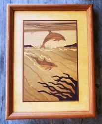 Vintage Hudson River Inlay Artwork Marquetry 12.75 X 9.75 - Dolphins - Signed