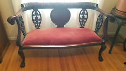 Antique Mahogany Settee Claw Foot Bench