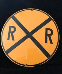 Railroad Crossing Rr X Ande Rooney Porcelain Sign Model Train Collectible Used