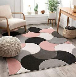 Well Woven Good Vibes Helena Blush Pink Modern Geometric Shapes 5and0393 X 7and0393 3d T