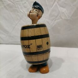 Vint1932 J Chein King Features Syndicate Popeye In Barrel Tin Litho Wind Up Toy.