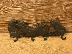 Cast Iron Four Pig Wall Hook 11 Wide And 4 1/8 Tall Barbeque Decor 0184-0455
