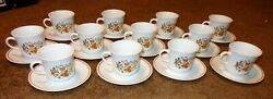 Corelle Indian Summer 12 Cups And 12 Saucers Sets Orange And Yellow Fall Flowers