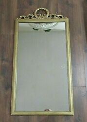 Antique French Louis Xvi Gilt Wood Bow Ribbon Wreath Carvings Wall Mirror