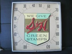 Vintage Early Rare We Give Sandh Green Stamps Square Glass Advertising Thermometer