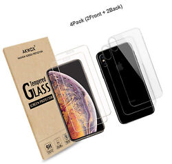 4-pack Compatible With Iphone Xs Max Screen Protector With Back Covers, Akwox