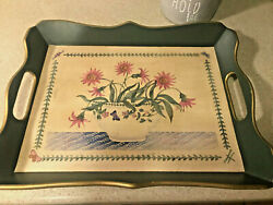 Vintage Wooden Serving Tray W/handles - Portmeirion 37212 - Green With Flowers