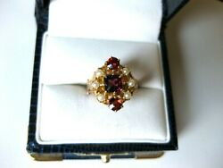 Antique Victorian 14k Rose Goldfine Bohemian Garnet And Seeds Pearl