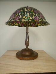 Antique Large Table Lamp, Leaded Stain Glass Vintage Shade