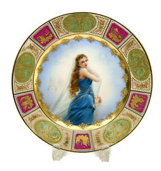 Royal Vienna Austria Hand Painted Porcelain Cabinet Plate Veiled Beauty, Signed