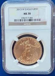 2013-w 50 Gold American Eagle 1 Oz. Ngc Ms70